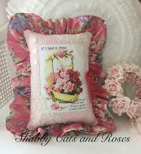 Pink & Red Roses Mother's Day Pillow~Lace Trim~Heart Locket~Laura Ashley Fabric