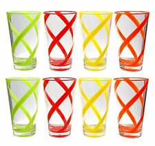 22 oz Helix Multi-Color Acrylic Plastic Tea Cup Drinking Glass Tumbler Set of 8