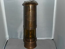 """MINER""""S  LAMP   Brass     reproduction  Tall Amber lens"""
