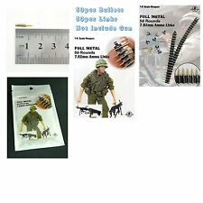 1/6 Scale Dr.Figures MG Full Metal Ammo Links 50 Rounds 7.62