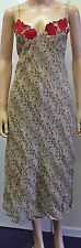 Ladies Rene Derhy Sleeveless Beige Rose Print Evening Maxi Formal Dress Size 10