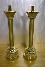 """+ Pair of Older Altar Candlesticks + Gold Finish + 17"""" + chalice co. (CU447)"""