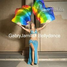 1pair light&strong 1.8m*0.9m rainbow belly dance real silk fan veil+carry bag.