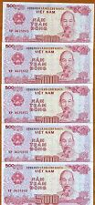 Lot Vietnam, 5 x 500 Dong, 1988 (1989), Pick 101, Unc Ship Harbor