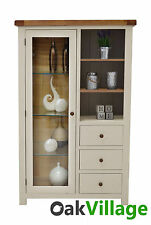 Walcot Painted Display Cabinet / Oak Combination Chest / Living Room Furniture
