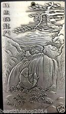 "Old Chinese Tibet Silver Amulet ""Li Yu Tiao Long Men"" Statue Thangka Netsuke"