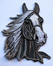 RACING GRAY HORSE HEAD Embroidered Iron on Patch Free Shipping