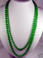 Long 8mm natural Green Emerald Round beads Necklace 50''