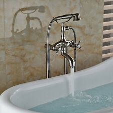 Free Standing Brushed Nickel Bathtub Two Handles Swivel Spout Mixer Faucet