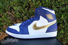 NIKE AIR JORDAN 1 RETRO HIGH SZ 11 ROYAL BLUE OLYMPIC WHITE GOLD USA 332550 406