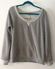 Ladies Poof Gray Warm Fleece Top Long Sleeve Kangaroo Pockets Size Large