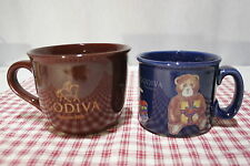 LOT of Two GODIVA Large Mugs Brown Godiva and Blue Teddy Bear Christmas