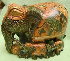 """VINTAGE HAND PAINTED WOODEN ELEPHANT FAMILY STATUE """"HUNTING  SEEN"""""""
