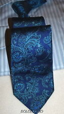 "NEW men IKE BEHAR SILK NECK TIE TURQUOISE FLORAL 3 1/2"" x 58"" i232"