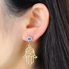 1Pair Hollow Hamsa Hand Fatima Stud Earring Amulet Jewelry Gold Plated