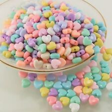 100 PCS HEART BEADS ACRYLIC PASTEL MIX COLOR 10mm CHILDREN KID CRAFT DIY CHARMS