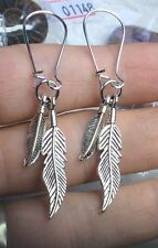 NATIVE AMERICAN STYLE ANTIQUED SILVER TONE FEATHER PENDANT EARRINGS