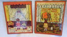 2 Vtg 1960s-1970s Orange Little Girl Art Prints on Wood w/ Ringling Bros Circus