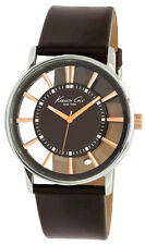 Kenneth Cole Herrenuhr Transparency Silver Brown KC1781 Analog  Leder Braun