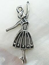 25 Antique Silver Ballerina Dance Girls Charms Pendants Favour Jewellery B02028
