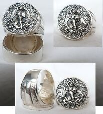 RING Saint St. Michael Protect US  SOLID SILVER 925