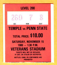 11/15/80 PENN STATE/TEMPLE FOOTBALL TICKET STUB