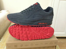 nike air max 90 vt , charcoal grey and red suede uk size 9 euro 44 , 8.5 10 7