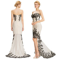 NEW Appliques Womens Bridesmaid High Low Assymetric Formal Party Prom Gown Dress