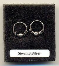 Small Indo Ball Hoops Sterling Silver 925 Earrings Pair