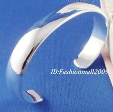 Beautiful Thick silver smooth cuff bangle bracelet