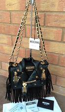 MOSCHINO x JEREMY SCOTT SMALL BLACK LEATHER FRINGED BIKER JACKET BAG BNWT