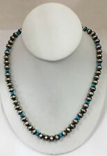 Native American Sterling Silver Navajo Handmade Turquoise And Silver Pearls Bead