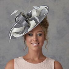 MERCURY GREY IVORY WEDDING ASCOT OCCASION DISC HATINATOR HAT MOTHER OF THE BRIDE