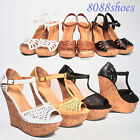 Women's Summer Peep Toe Open Toe Cork Platform Wedge Sandal Shoes Size 5.5 - 11