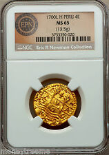 "PERU 4 ESCUDOS 1700 ""FINEST OF 3 KNOWN"" NGC 65 ERIC P NEWMAN! GOLD DOUBLOON COIN"