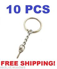 10 Pcs - Silver 24mm Split Key Ring Keychain With Extend Chain Eye Screw Pin DIY
