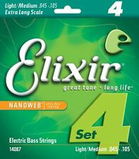ELIXIR 14087 NANOWEB COATED BASS STRINGS, EX. LONG SCALE LITE/MEDIUM 4's  45-105