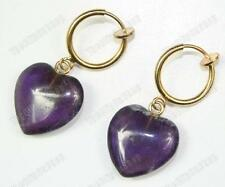 CLIP ON look pierced AMETHYST HEART EARRINGS gold fashion GEMSTONE purple quartz