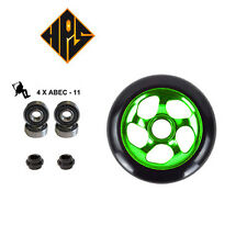 2X PRO STUNT SCOOTER GREEN CYCLONE METAL CORE WHEELS 100mm 88A ABEC 11 BEARING