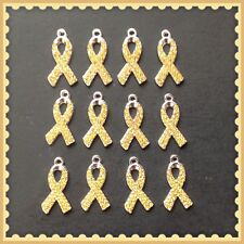 12 Gold Rhinestone Ribbon Cancer Awareness Charms Jewelry Bracelet Making G6