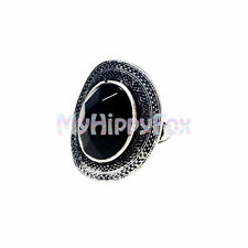 Lucky Brand Antiqued Silver Tone Tribal Black Stone Statement Ring