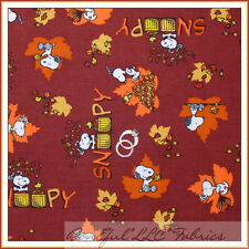 BonEful Fabric Cotton Orange Brown Pumpkin S Leaf Snoopy Peanuts Halloween SCRAP