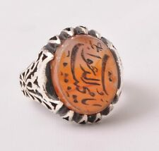 Islamic Silver agate aqeeq aqiq Men Ring-Middle Eastern-yemen-yemeni