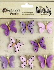 BUTTERFLY Mix PURPLE Printed 8 Teastained Paper  20-25mm Darjeeling Petaloo