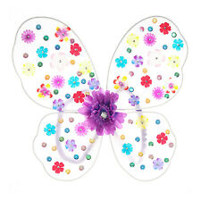 Rainbow Flower Fairy Butterfly Wings Halloween Costume Child Floral Designs NWT