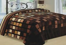 Modern Blanket Super Soft Throw Bedding Brown Beige Blocks King Size Flannel New