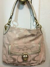 Authentic Pink and Silver Sateen and Leather Signature Coach Hobo Shoulder Bag