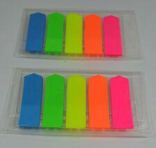 200 X Adherente Adhesivo Resaltador índice Tab Banderas. Colores de Neón Transparente