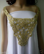 VK412 Fleur De Lis Floral Collar Metallic Gold Trim Applique
