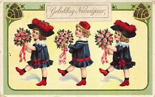 BG14675  girl with flower  new year gelukkig nieuwjaar netherlands